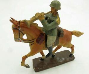 VINTAGE PRE-WAR COMPOSITION  ELASTOLIN GERMANY MILITARY TRUMPET PLAYER