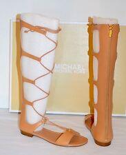 New $225 Michael Kors Sofia Gladiator Tall Leather Sandal Suntan Brown sz 8