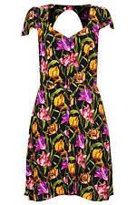 Nouveau Belle TOPSHOP tulipe imprimé dos ouvert tea dress UK 6 in (environ 15.24 cm) Noir/Multi