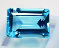 CERTIFIED Emerald Cut  31 Ct Blue Transparent Aquamarine Loose Gemstone