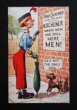 WW1 Postcard Kitchener Wants Men Dog Callender Street Stockport Road Manchester