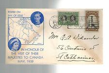 1939 Toronto Canada Royal Visit cover to USA KGVI King George 6