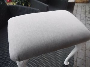Small Dressing Table stool recovered in Grey Fabric