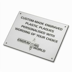 152mm x 101mm Personalised Engraving Engraved Plastic Plaque Sign (Silver/Black)