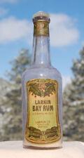Antique LARKIN Co BUFFALO bottle BAY RUM w/ LABEL and GLASS stopper