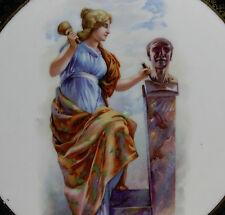 Antique Plate Austria, Female Sculptor Chiseling a Marble Bust, Green Lobed Edge