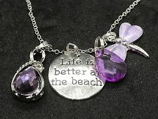 """Life is Better at Beach Dragonfly & Heart Charm Tibetan Silver 18"""" Necklace D169"""