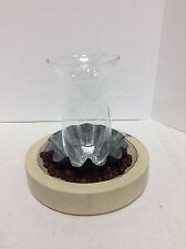 1 Pottery Barn Sumatra Wood Bowl Punch Tin Glass Vase Candle Holder Centerpiece