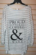 NEW WET SEAL WOMENS PLUS SIZE 3X PROUD SIPPER OF COFFEE & WINE TEE SHIRT TOP