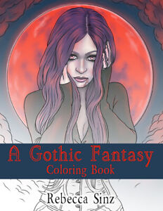 Gothic Fantasy Art Adult Coloring Book Vampires Angels Mermaids Witches Sinz