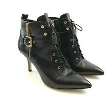 Michael Kors Brena Womens Lace Up Pointed Toe Leather Ankle Boots Black Size 9