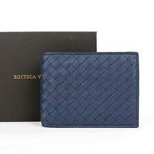 Bottega Veneta Men's Blue Leather Intercciaco Woven Bifold Wallet 148324 4130