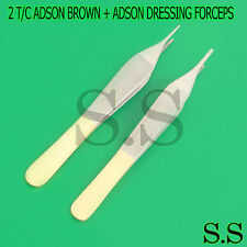 """2 T/C ADSON BROWN + ADSON DRESSING FORCEPS 4.75"""" WITH TUNGSTEN CARBIDE"""