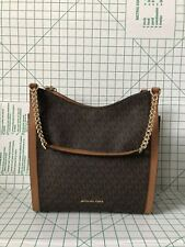 Michael Kors Newbury Medium Chain Shoulder Tote In Brown Signature MK PVC Bag