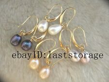 4pairs freshwater pearl egg white pink hook earring