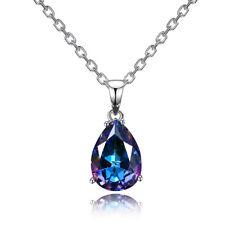 925 Silver 10 * 14 MM Pear Mystic Topaz Drop Dangle Pendant Necklace Wholesale
