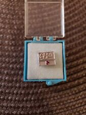 Vintage 10k White Gold And Natural Ruby Belk Service Lapel Pin Tie Tack