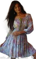 pastel multi ruffled top  short dress 3/4 sleeve batik OS m l xl 1x 2x za765