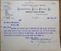 Bicycle 1895 Letterhead: International Cycle Fittings Co., Hubs/Pedals/Saddles
