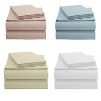 EnvioHome 4 Piece 100% Organic Cotton Bed Sheet Set 250 Thread 15'' Deep Pocket
