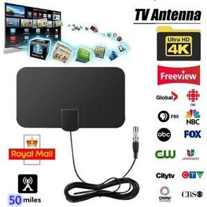 Indoor TV Aerial 50 Miles Digital HDTV Antenna Freeview 4K 1080P HD FM VHF UHF