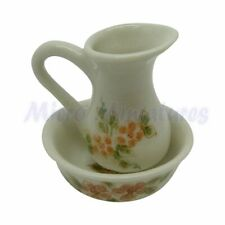 Dolls House Floral Jug and Bowl Set 1/12th Scale (01623)