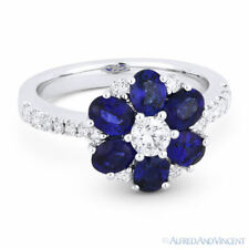 Gold Right-Hand Flower Charm Cocktail Ring 2.54 ct Sapphire & Diamond 18k White