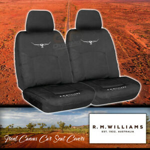 Front Black RM Williams Stockyard Canvas Car Seat Covers Waterproof RMW 1 x PAIR