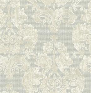 Tapete, Designtapete, Struktur, Waffelprint, floral, Schimmer, Sandy Loam, Taupe