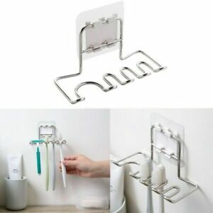 Wall Mounted Stainless Steel Toothbrush Holder Bath Toothpaste Razor Organizers