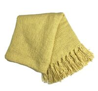 """POTTERY BARN Throw Blanket 50"""" x 60"""" Yellow Knit Fringed"""