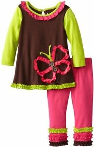 75% OFF! AUTH RARE EDITIONS BUTTERFLY-APPLIQUED DRESS + LEGGINGS 3-6MOS BNWT $45