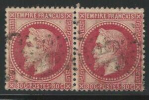 France, 1868, Scott #36 pair, 80c rose on pinkish, used, fine-very fine