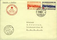 Switzerland 1939 Red Cross Convention sg399/400 Special Flight wi Stamp on Cover