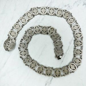 Silver Tone Engraved Flower Concho Belly Body Chain Link Belt One Size OS