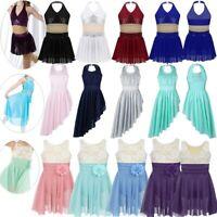 Girls Contemporary Lyrical Dance Costumes Dress Kids Halter Irregular Dancewear