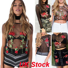 Women Floral Embroidered Mesh Insert Top Ladies Polo Neck Party Leotard Bodysuit