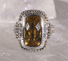 Judith Ripka Sterling Silver Citrine & CZ Cocktail Ring Size 7