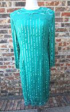 NADINE SEQUIN BEADED LONG SLEEVE TURQUOISE/GREEN DRESS SIZE XXL