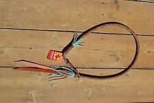 "Brown Braided Leather Barrel Racing Over/Under Whip 60"" Turquoise Fringe"