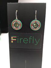 FIREFLY Multicolor Mosaic Circle Drop Earrings - Erin Green Mosaic (E39)