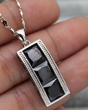 18K White Gold Filled - 8MM Square Black Onyx Topaz Noble Women Pendant Necklace