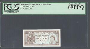 Hong Kong One Cent ND(1971-81) P325b Uncirculated Grade 69