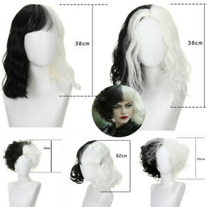 Cruella Deville White Black Short Mid Long Curly Wig Halloween Cosplay Party Wig