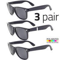 3 PAIR Polarized Vintage Sunglasses Retro Glasses Vintage Frame Fashion Black
