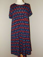 Lularoe Carly Dress ~ Large L ~ Red Blue Stripes Stars ~ Vibrant Colors