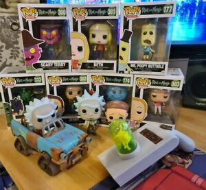 Rick & Morty Funko Pop Bundle - 7 boxed - 3 loose including vehicle & Portal Gun