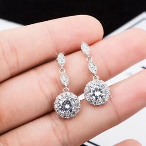 9K REAL PLATINUM FILLED CIRCLE STUD EARRINGS MADE WITH SWAROVSKI CRYSTALS WG14