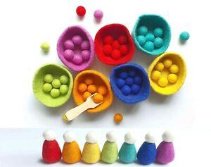 Sorting Felt Bowls Toy, Counting, Montessori Sensory Play, Colour, Educational