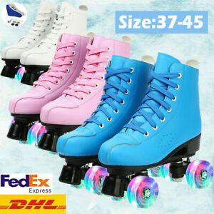 For Youth Boy Girl Xmas PU Leather High-top Four-Wheel Double Row Roller Skates